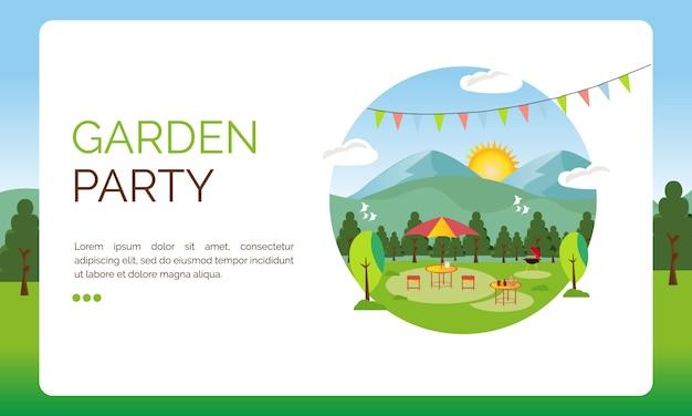Иллюстрация к посадочной странице, оформление вечеринки в саду Premium векторы