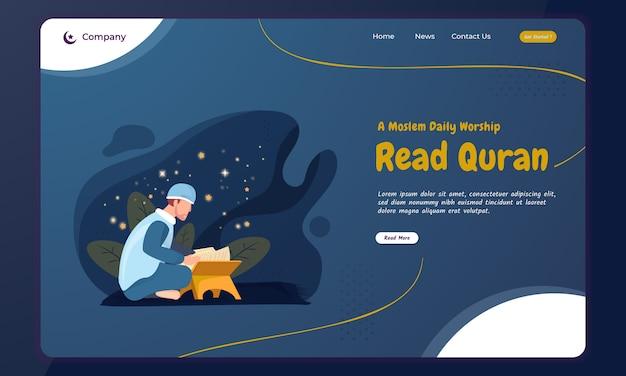 イスラム教徒がランディングページでラマダンの聖クルアーンのコンセプトを読む Premiumベクター