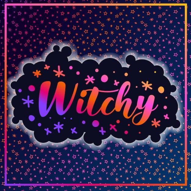 魔女ハロウィーンパターン星 Premiumベクター