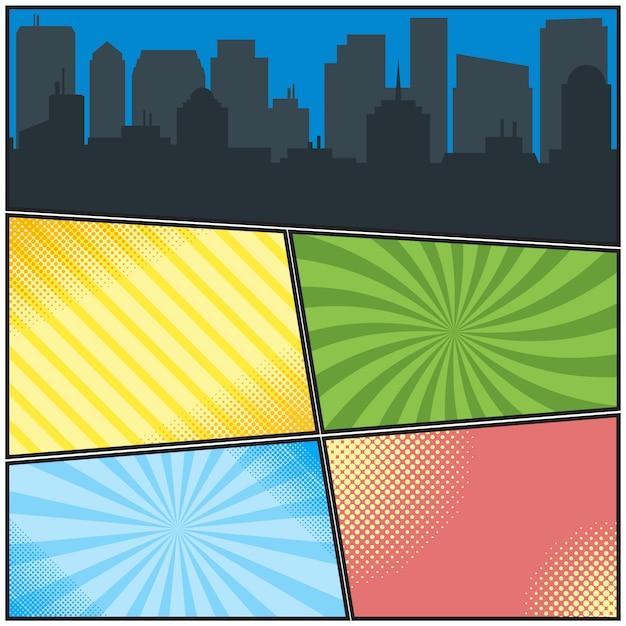 さまざまな放射状の背景と街のシルエットのコミックブックページテンプレート Premiumベクター
