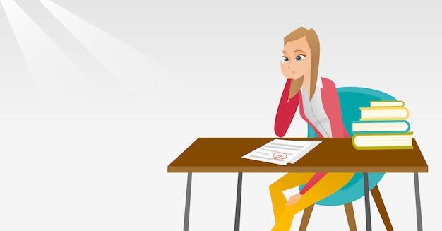 悪い印のテスト用紙を見て悲しい学生。 Premiumベクター
