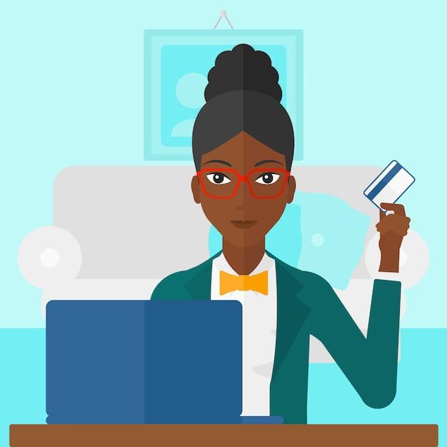 オンラインで購入する女性 Premiumベクター