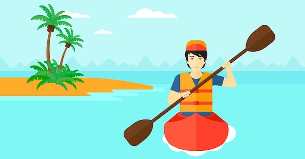 カヌーに乗って男 Premiumベクター