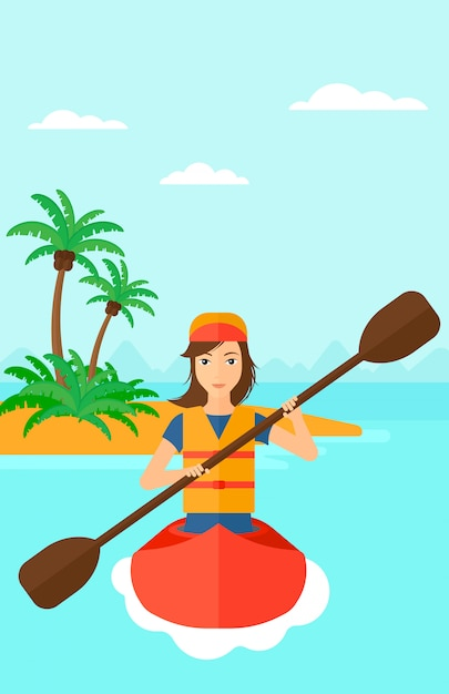 カヌーに乗る女性 Premiumベクター