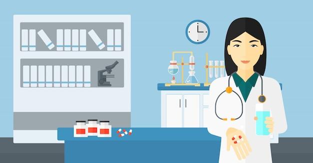 薬剤師が薬を与えます。 Premiumベクター