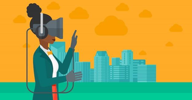仮想現実のヘッドセットを着ている女性 Premiumベクター