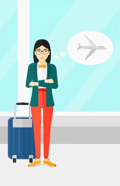 Женщина напугана будущим полетом Premium векторы