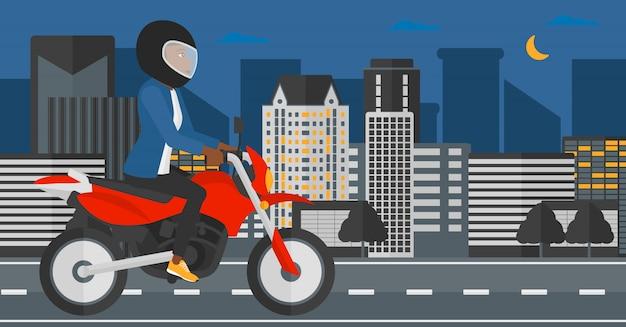 Женщина верхом на мотоцикле. Premium векторы