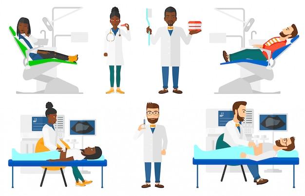 医師のキャラクターと患者のセット。 Premiumベクター