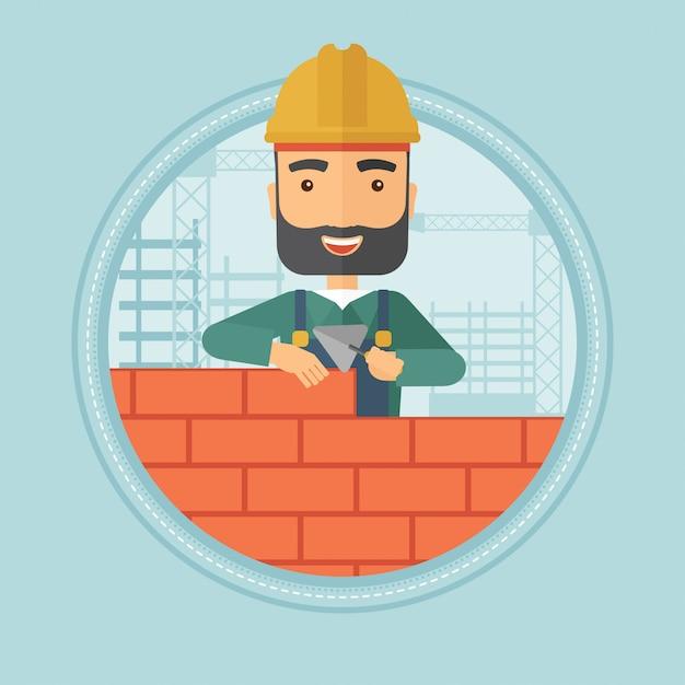 れんが造りの建物のレンガの壁 Premiumベクター