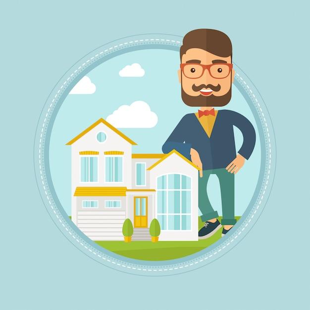 Агент по недвижимости предлагает дом Premium векторы