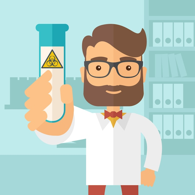ガラス管を実験する科学者 Premiumベクター