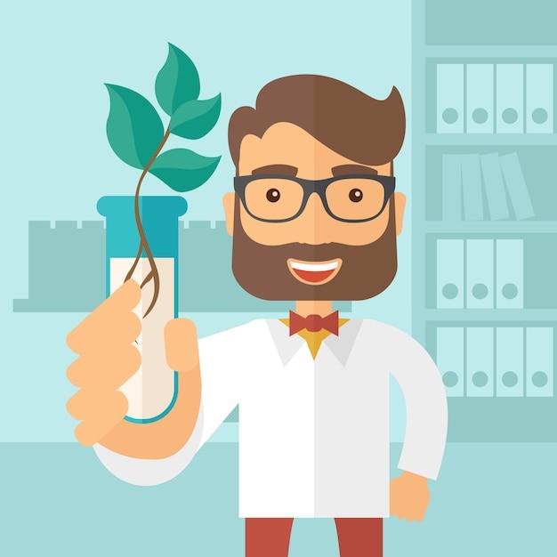 Химик с трубки и эко листья. Premium векторы