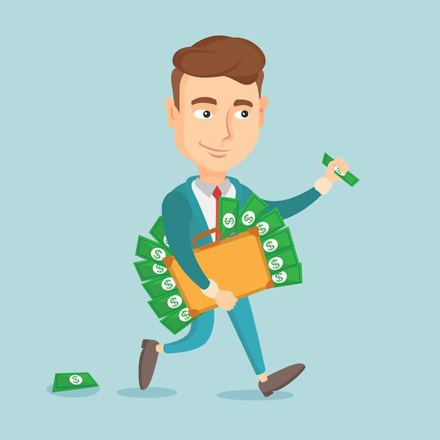 Деловой человек с портфелем, полным денег. Premium векторы