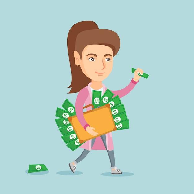 Исполнительный менеджер с портфелем, полным денег. Premium векторы