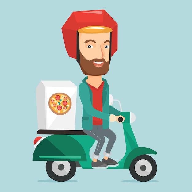 Человек доставки пиццы на скутере. Premium векторы
