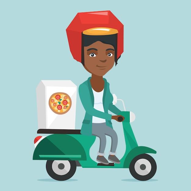 Афро-американская женщина доставляет пиццу на скутере Premium векторы