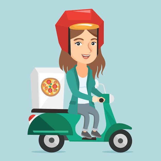 Кавказская женщина доставки пиццы на скутере. Premium векторы