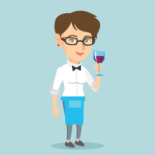 ワインのグラスを保持している白人のウェイトレス。 Premiumベクター