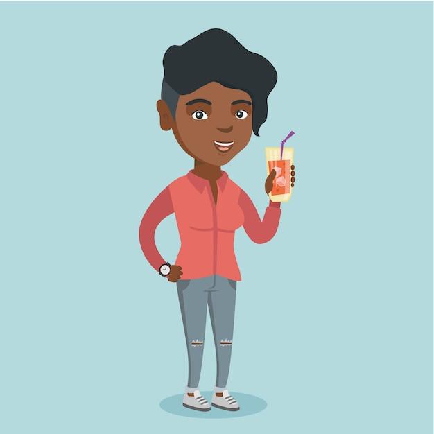 カクテルを飲む若いアフリカ系アメリカ人女性。 Premiumベクター
