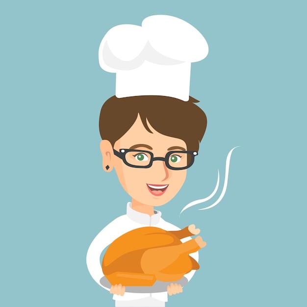 Кавказский шеф-повар держит жареную курицу. Premium векторы