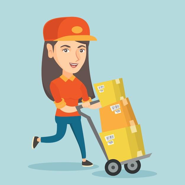 小包でトロリーを押す女性郵便屋さん。 Premiumベクター