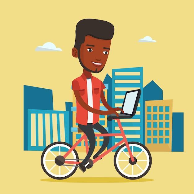 市内の自転車に乗るアフリカ系アメリカ人の男。 Premiumベクター