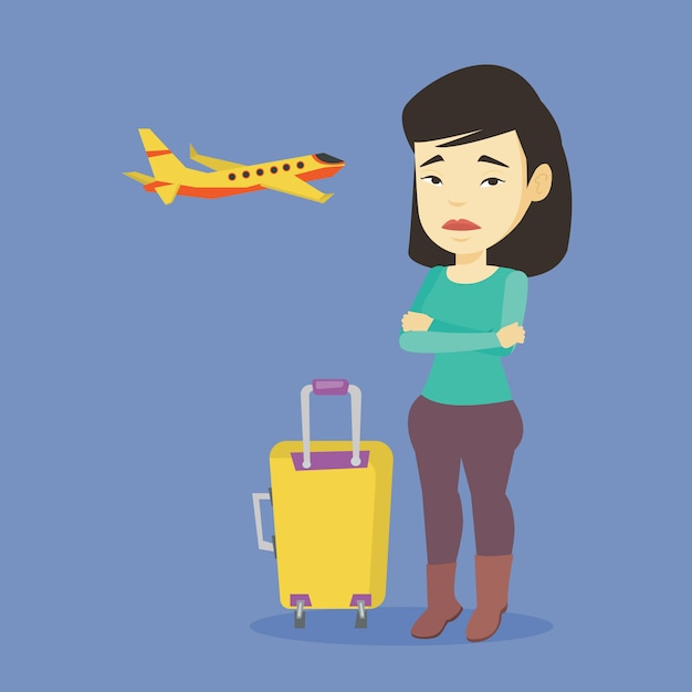 Молодая женщина страдает от страха полета. Premium векторы