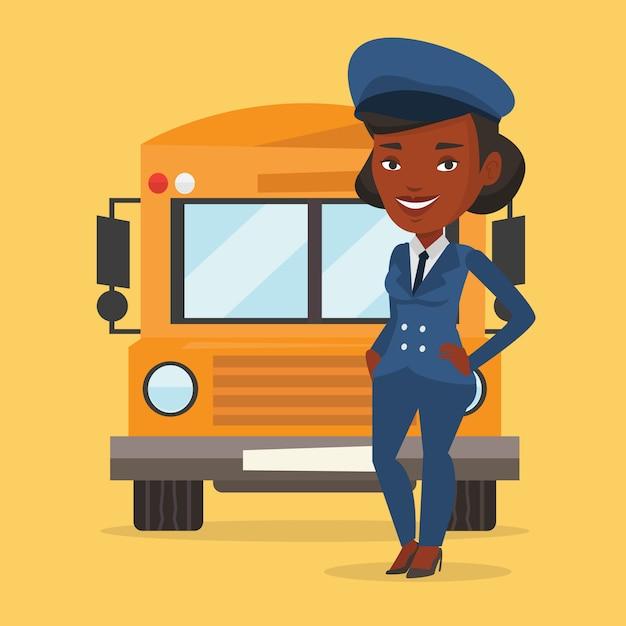 Иллюстрация водителя школьного автобуса. Premium векторы