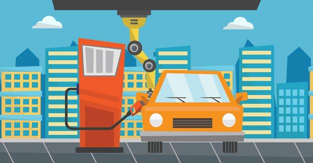 ガソリンスタンドで車に燃料を充填するロボット。 Premiumベクター