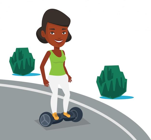 Женщина катается на самобалансирующемся электрическом самокате. Premium векторы