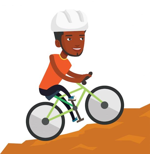 Молодой человек на велосипеде путешествуя в горах. Premium векторы