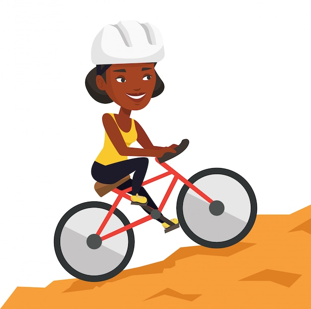 Молодая женщина на велосипеде путешествуя в горах Premium векторы