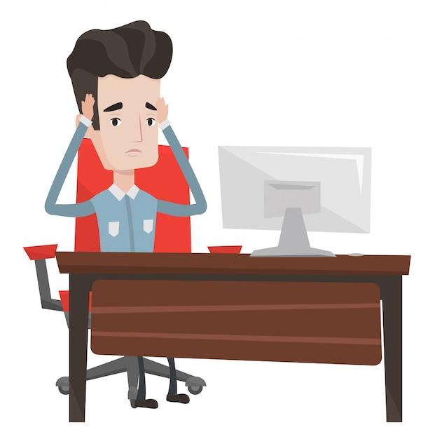 Напряженный работник сидит на рабочем месте. Premium векторы