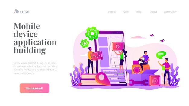 Шаблон целевой страницы разработки мобильного приложения Premium векторы