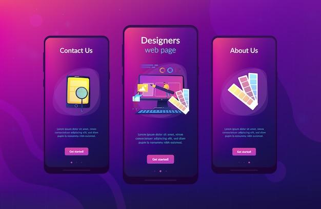Шаблон интерфейса приложения для разработки веб-дизайна Premium векторы