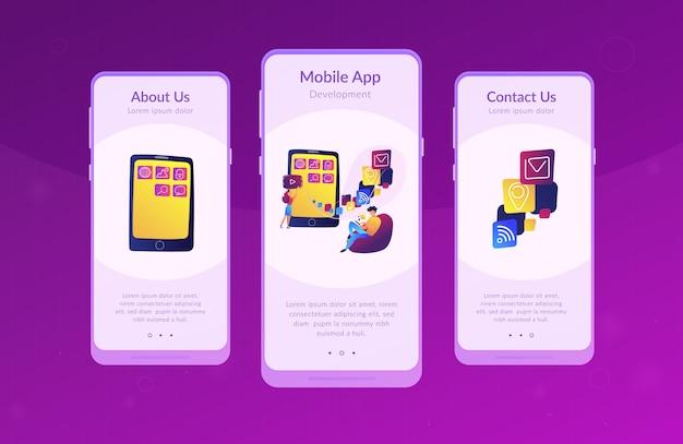 Шаблон интерфейса приложения для разработки мобильных приложений Premium векторы