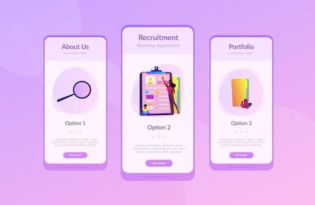 就職面接アプリのインターフェイステンプレート。 Premiumベクター