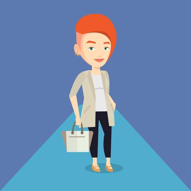 女性がファッションショー中にキャットウォークでポーズします。 Premiumベクター