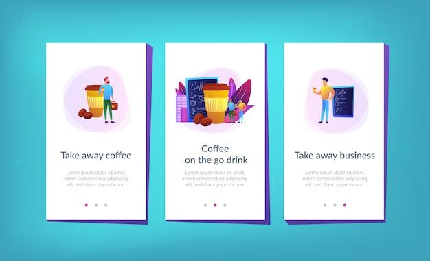 Заберите шаблон интерфейса приложения кофе. Premium векторы