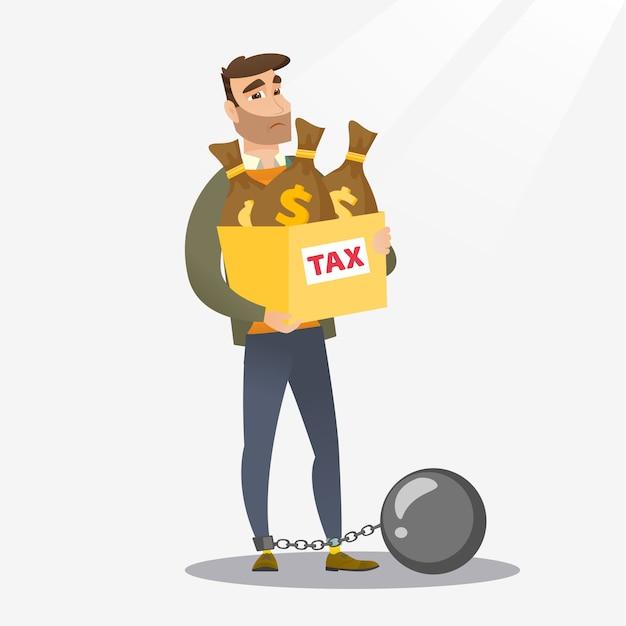 税金がいっぱい入った袋でチェーンの女性。 Premiumベクター