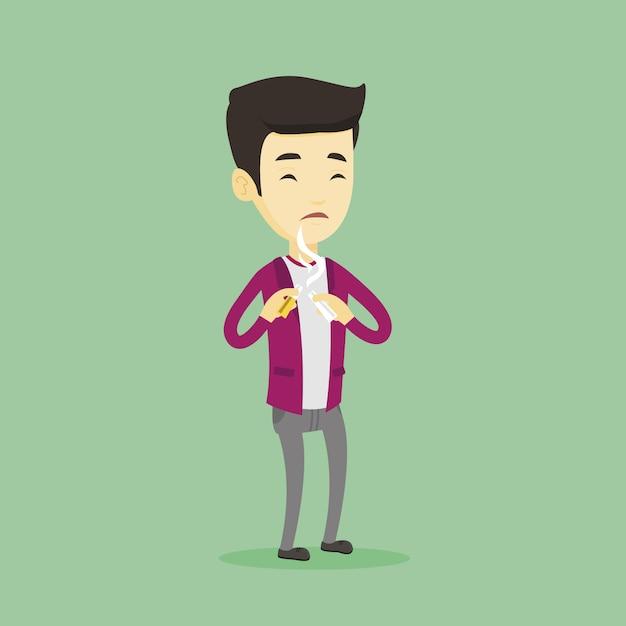 Молодой человек бросил курить. Premium векторы
