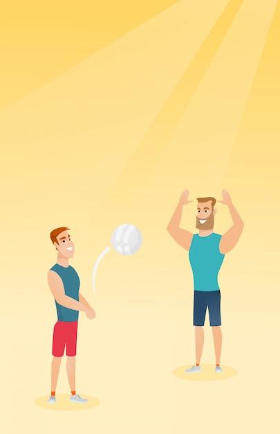 Двое кавказских мужчин играют в пляжный волейбол Premium векторы