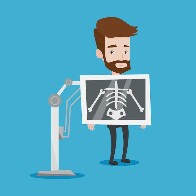 Пациент во время рентгеновской процедуры иллюстрации Premium векторы