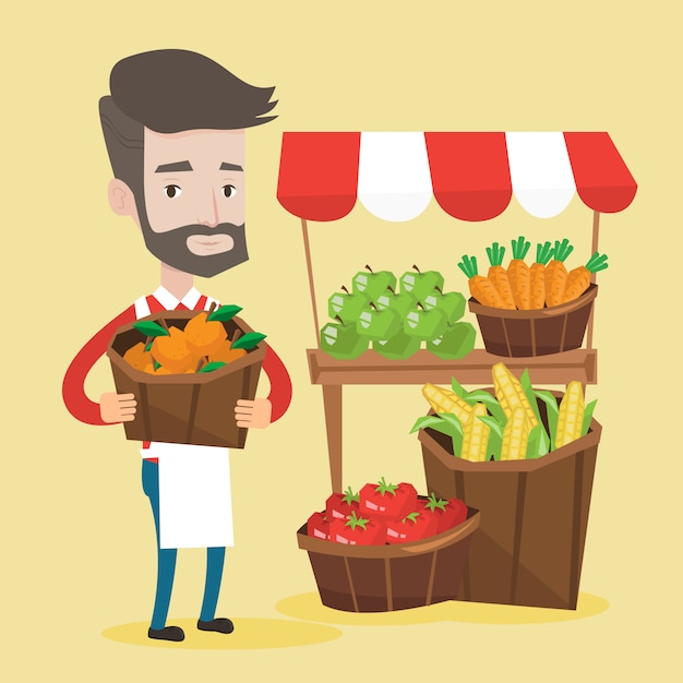 果物と野菜のストリートセラー。 Premiumベクター