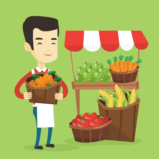 果物と野菜の八百屋。 Premiumベクター