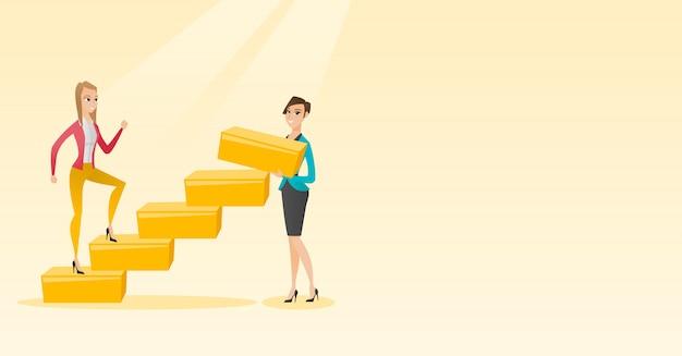 ビジネスの女性は、キャリアのはしごを駆け上がります。 Premiumベクター