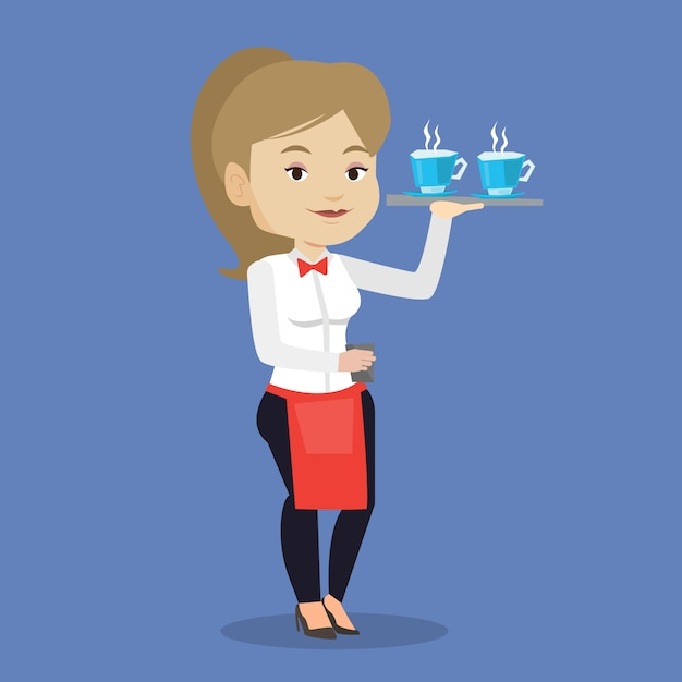Официантка держит поднос с чашками кофе или чая. Premium векторы
