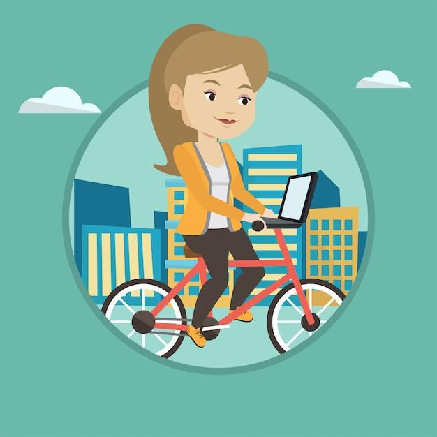 市内で自転車に乗る女性。 Premiumベクター