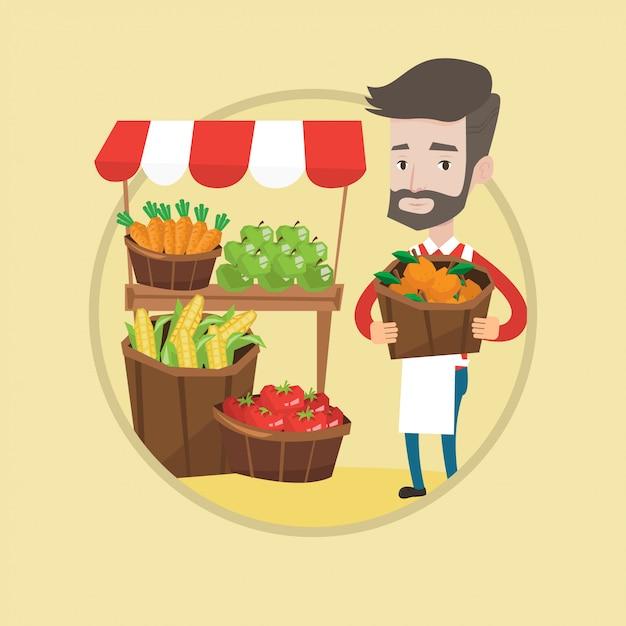 果物と野菜の屋台。 Premiumベクター